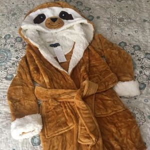 New Cosplay Kids Hooded Sloth Bathrobe 3/4 Small